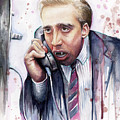 Nicolas Cage A Vampire's Kiss Watercolor Art by Olga Shvartsur