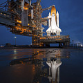 Night View Of Space Shuttle Atlantis by Stocktrek Images