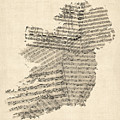 Old Sheet Music Map Of Ireland Map by Michael Tompsett
