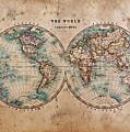 Old World Map In Hemispheres by Richard Thomas