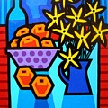 Oranges Flowers And Bottle by John  Nolan