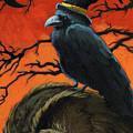 Owl And Crow Halloween by Linda Apple