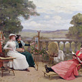 Painting On The Terrace by Jules Frederic Ballavoine