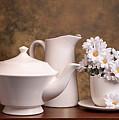 Panoramic Teapot With Daisies by Tom Mc Nemar