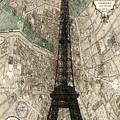 Paris Vintage Map And Eiffel Tower by Georgia Fowler