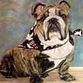 Pastel English Brindle Bull Dog by Patricia L Davidson