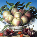 Peaches In Delft Bowl With Purple Figs by Amelia Kleiser