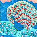 Peacock And Lily Pond by Sushila Burgess