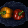 Peppers And Blue Bowl by Christian Slanec
