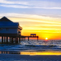 Pier  At Sunset Clearwater Beach Florida by George Oze