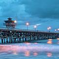 Pier In Blue Panorama by Gary Zuercher