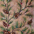 Pine Cones And Spruce Branches by Nancy Mueller