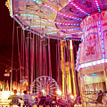 Pink Carnival Festival Ferris Wheel Night Ride by Kathy Fornal