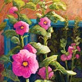Pink Hollyhocks by Candy Mayer