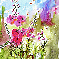 Pink Lavatera Watercolor Painting By Ginette by Ginette Callaway