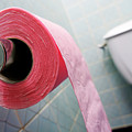 Pink Toilet Roll On Holder In Bathroom by Sami Sarkis