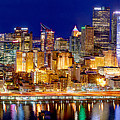 Pittsburgh Pennsylvania Skyline At Night Panorama by Jon Holiday