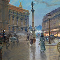 Place De L Opera In Paris by Georges Stein