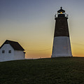 Point Judith Light At Sunset by Thomas Schoeller
