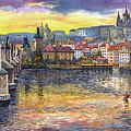 Prague Charles Bridge And Prague Castle With The Vltava River 1 by Yuriy  Shevchuk