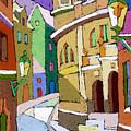 Prague Old Street Karlova Winter by Yuriy  Shevchuk