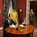 President Obama And Michelle Obama Sign by Everett