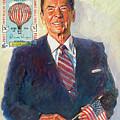 President Reagan Balloon Stamp by David Lloyd Glover