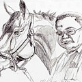 Race Horse And Owner by Nancy Degan