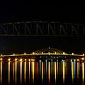 Railroad And Bourne Bridge At Night Cape Cod by Matt Suess