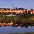 Rangers Ballpark In Arlington At Dusk by Jon Holiday