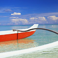 Red And White Canoe by Dana Edmunds - Printscapes