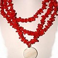 Red Coral Yin Yang by Donna  Phitides