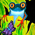 Red Eyed Tree Frog And Purple Butterfly by Nick Gustafson