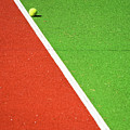 Red Green White Line And Tennis Ball by Silvia Ganora