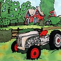 Red House And Tractor by Linda Marcille