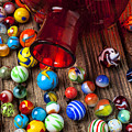 Red Jar With Marbles by Garry Gay