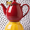 Red Teapot With Butterfly by Garry Gay