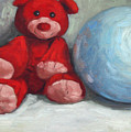 Red Teddy And A Blue Ball by William Noonan