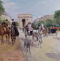 Riders And Carriages On The Avenue Du Bois by Georges Stein