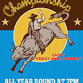 Rodeo Cowboy Bull Riding Poster by Aloysius Patrimonio