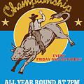 Rodeo Cowboy Riding  A Bull Bucking by Aloysius Patrimonio