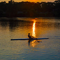 Rowing At Sunset 2 by Bill Cannon