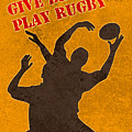 Rugby Player Jumping Catching Ball In Lineout by Aloysius Patrimonio