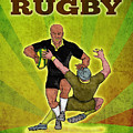 Rugby Player Running Attacking With Ball by Aloysius Patrimonio