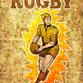 Rugby Player Running Passing Ball by Aloysius Patrimonio