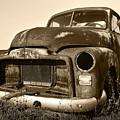 Rusty But Trusty Old Gmc Pickup Truck - Sepia by Gordon Dean II