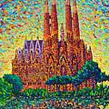 Sagrada Familia Barcelona Modern Impressionist Palette Knife Oil Painting By Ana Maria Edulescu