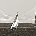 Sailboat Sailing Cooper River Bridge Charleston SC Print by Dustin K Ryan