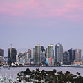 San Diego Skyline And Marina At Dusk by Jeremy Woodhouse
