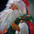 Santa Claus With Sleigh Bells And Wreath  by Shelley Schoenherr